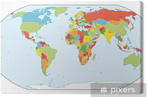 World map. Actual new version with South Sudan. Canvas Print ...
