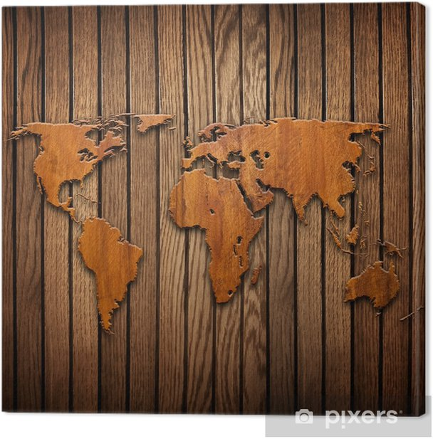 world map carving on wood plank Canvas Print