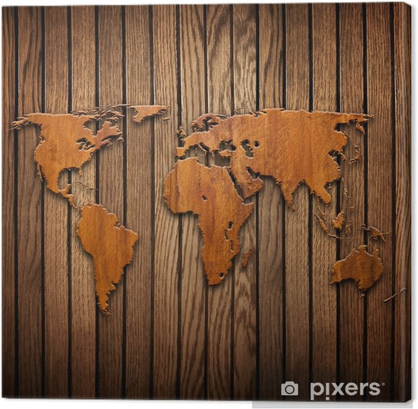 world map carving on wood plank Canvas Print • Pixers® • We live to ...