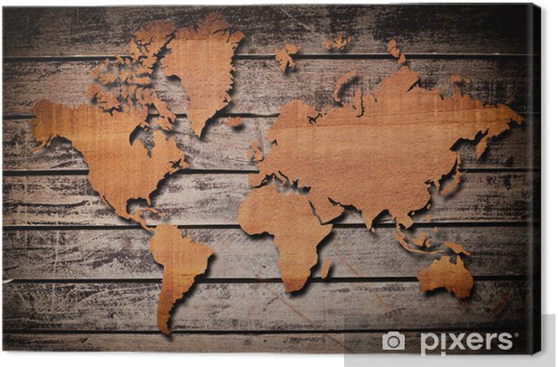 World map carving on wood plank. Canvas Print