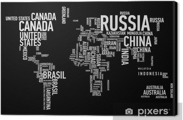 World map: countries of wordcloud Canvas Print - Teenage boy's room