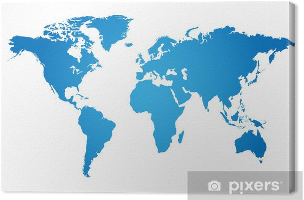 World Map Illustration Canvas Print - Wall decals
