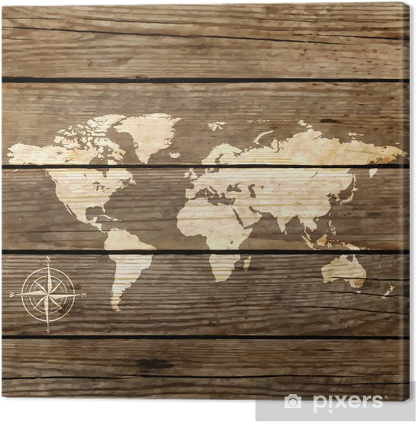 world map on a wooden board vector Canvas Print - Themes