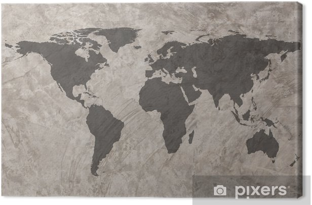 World map on Grunge Concrete Wall texture background Canvas Print - Themes