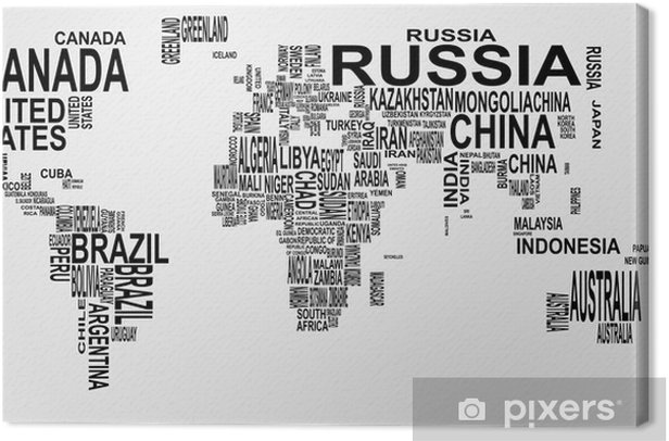 world map with country name Canvas Print - Teenage boy's room