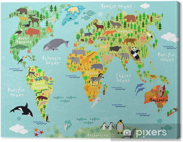 world map Canvas Print - Aquatic and Marine Life