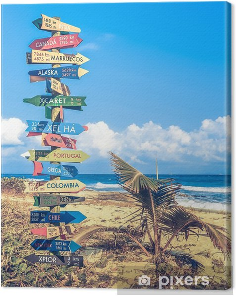 World travel signpost Canvas Print - Hobbies and Leisure