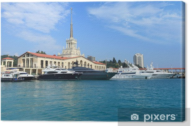 yachts on raid in port of the Sochi Canvas Print - Boats