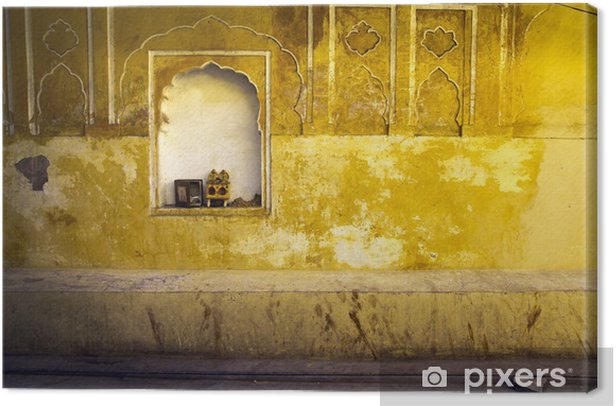 Yellow plaster and offering shrine, India, Jaipur Canvas Print - Asia