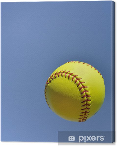 Yellow Softball in the Air Canvas Print - Outdoor Sports