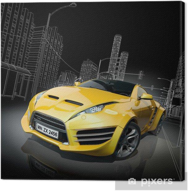 Yellow sports car. Original car design. Canvas Print -