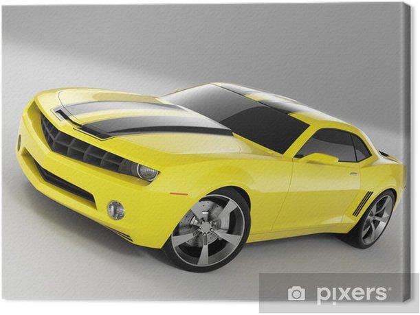 yellow sports car Canvas Print - Destinations