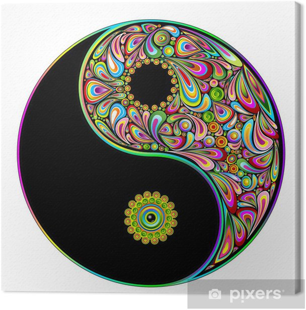 Yin Yang Symbol Psychedelic Art Design-Simbolo Psichedelico Canvas Print - Wall decals