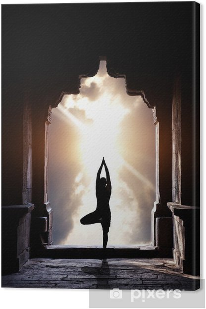 Yoga in temple Canvas Print - Asia