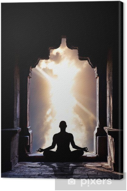 Yoga meditation in temple Canvas Print - Health