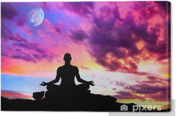 Yoga meditation silhouette pose Canvas Print - Health