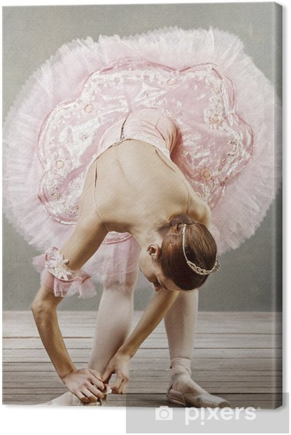 Young dancer in beautiful tutu fixing her slippers Canvas Print - Themes