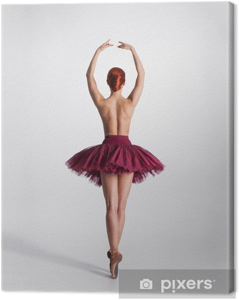 Young naked redhead female ballet dancer in a studio Canvas Print - Themes
