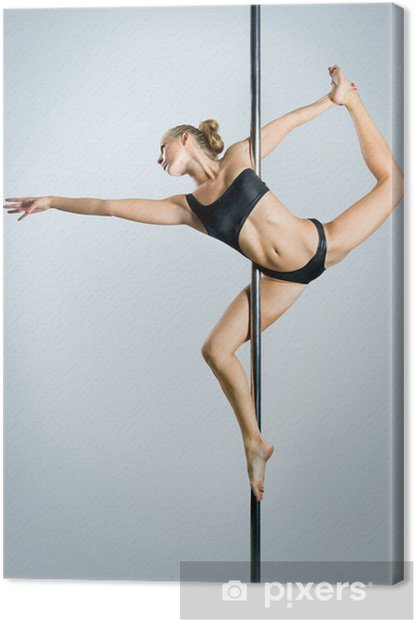Young sexy woman exercise pole dance against a gray background Canvas Print - Lingerie