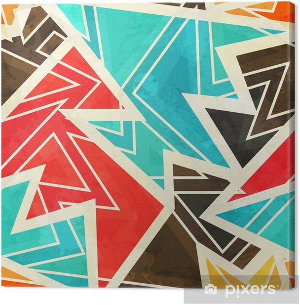 youth geometric seamless pattern with grunge effect Canvas Print - Graphic Resources