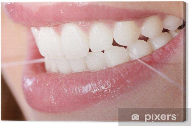 Zahnpflege mit Zahnseide Canvas Print - Body Parts