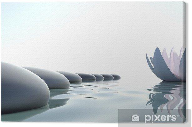 Zen flower loto near stone Canvas Print - Styles