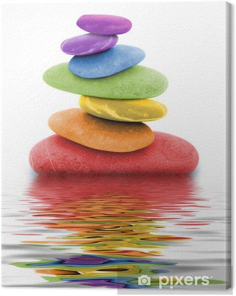 zen regenbogen kieselsteine im wasser Canvas Print - Themes