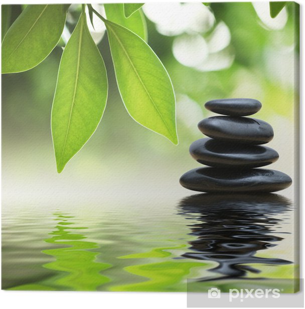 Zen stones pyramid on water surface, green leaves over it Canvas Print - SPA & Wellness