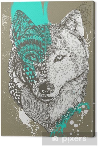 Zentangle stylized wolf with paint splatters, Hand drawn illustration Canvas Print - Animals