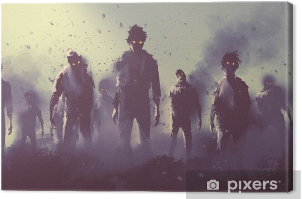 zombie crowd walking at night,halloween concept,illustration painting Canvas Print - Hobbies and Leisure