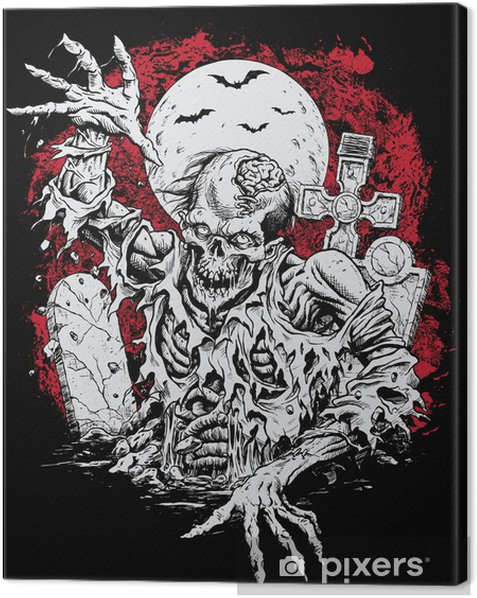 Zombie Rising From Grave Canvas Print - Themes