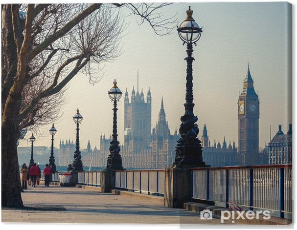 Canvas Promenade in Londen met uitzicht op de Big Ben en de Houses of Parliament - Thema's