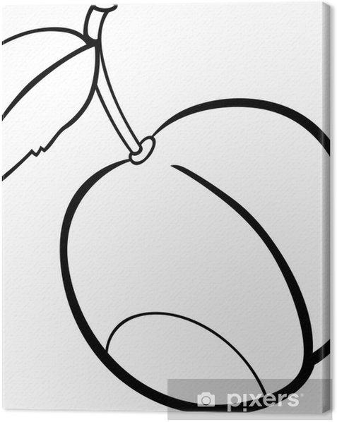 Canvas Pruim fruit illustratie voor kleurboek - Maaltijden