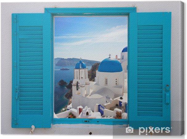Canvas Raam met uitzicht op de caldera en de kerk, Santorini - Thema's
