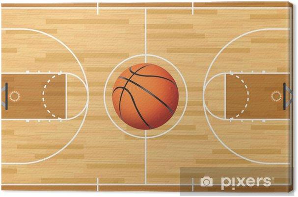Canvas Realistische Vector Basketball Court and Ball - Basketbal