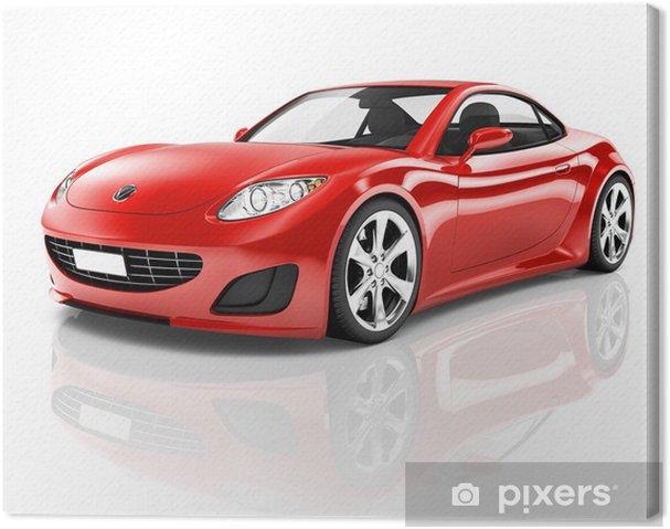 Canvas Red 3D Sportwagen - Muursticker