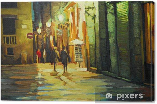 Canvas Regen in de gotische wijk van barcelona, schilderij van olie, illustrati - Thema's