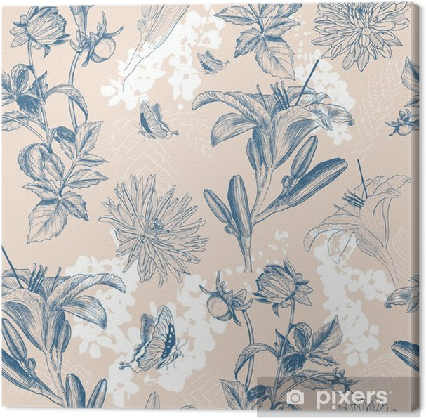 Canvas Retro bloem vector illustratie - Bloemen en Planten