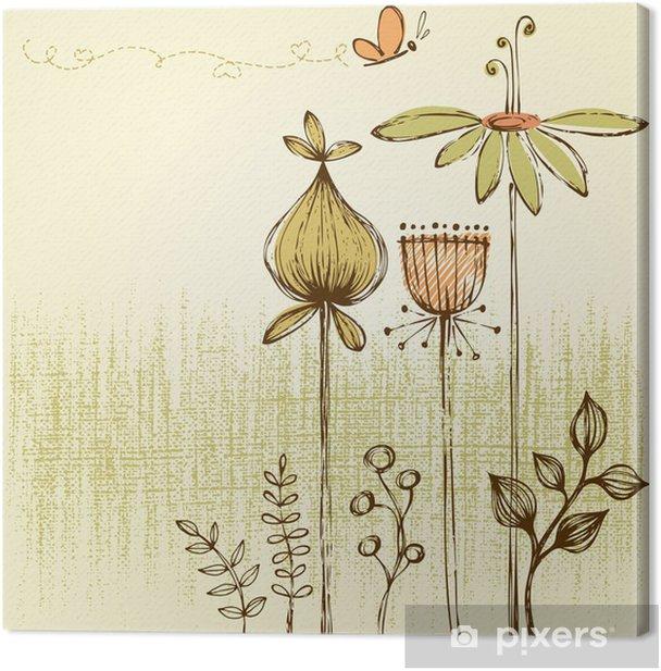 Canvas Retro Bloemen Kaart - Bloemen
