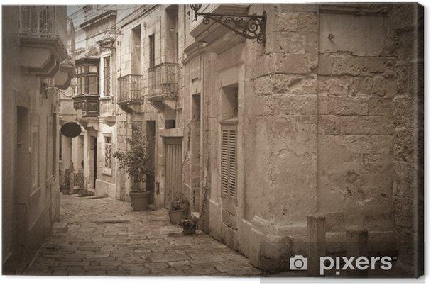 Canvas Retro foto van oude smalle straat - Thema's