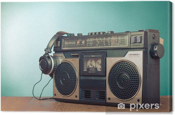Canvas Retro ghetto blaster cassetterecorder voorzijde mintgroen - Hiphop