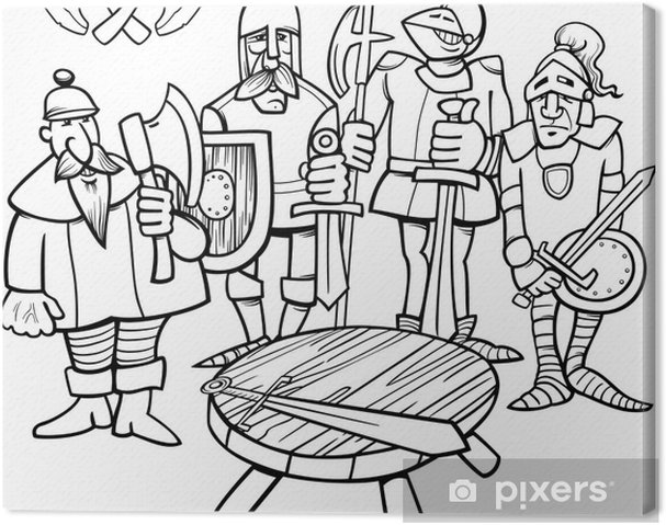 Canvas Ridders Van De Ronde Tafel Kleurplaat Pixers We Leven Om
