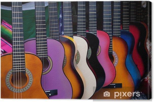 Canvas Rij van multi-gekleurde Mexicaanse gitaren - Thema's