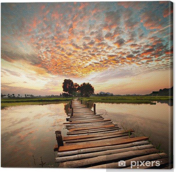 Canvas Rivier op zonsondergang -