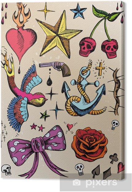 Canvas Rockabilly Tattoo Vorlagen Farbig Pixers We Leven Om Te