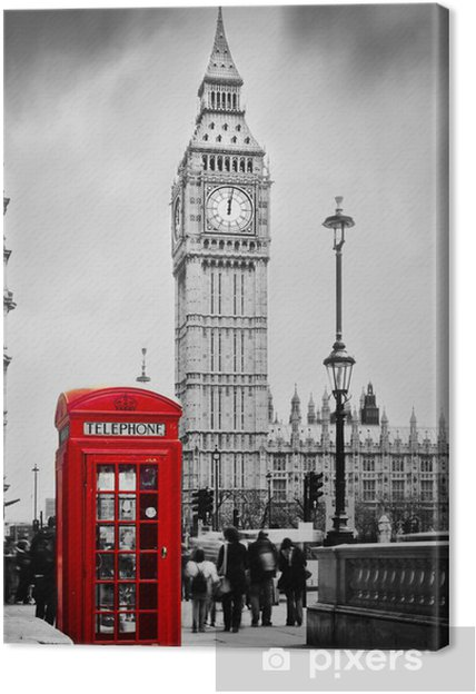 Canvas Rode telefooncel en de Big Ben in Londen, Engeland, het Verenigd Koninkrijk -