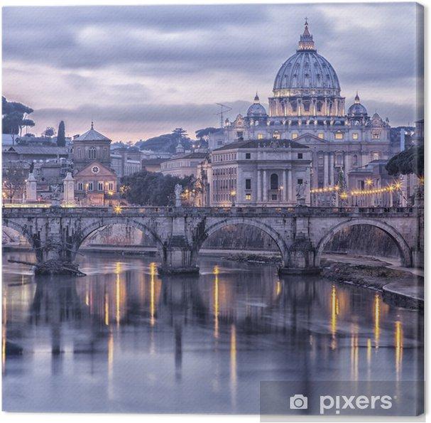 Canvas Rome en de rivier de Tiber in de schemering -