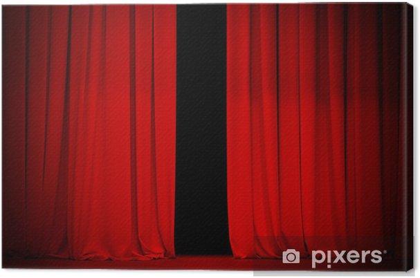 Canvas Rood gordijn op theater of bioscoop stadium beetje open - Achtergrond