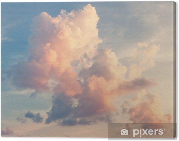 Canvas Roze wolken tegen een blauwe lucht -