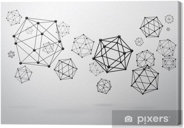 Canvas Samenstelling draadframe elementen in de vorm van icosahedron - Thema's